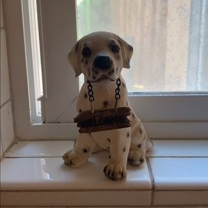 Other - DALMATIAN figurine holding a welcome sign in mouth